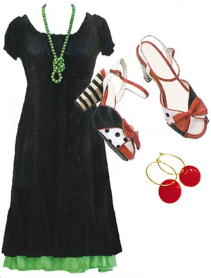 """If you wear a lot of black, there's nothing like a burst of colourful accessories to lift an outfit. But remember the cardinal rule of fashion: """"Only two things that match in colour"""""""