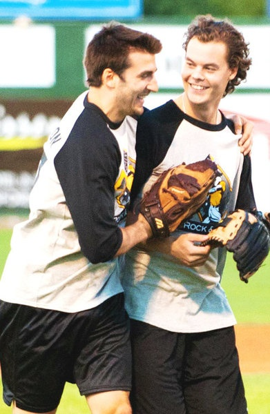 Patrice Bergeron and Tuukka Rask participating in the Milan Lucic rock and jock softball game