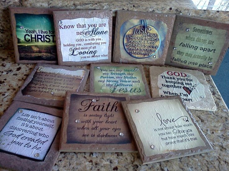 Ceramic Tile displayed with your favorite saying or Bible verse, can be displayed on an easel or hung on the wall. Go to Diana's Plaques on facebook for more home decor.