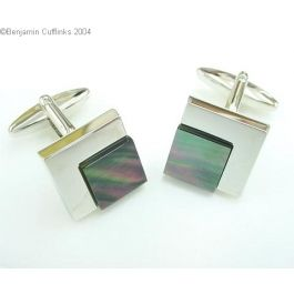 Steps of Success (Mother of Pearl) Cufflinks - A classic Square-shaped cufflink which feature a dark mother of pearl step.  These cufflinks are made from a rhodium plate - a classic design that will never go out of fashion.
