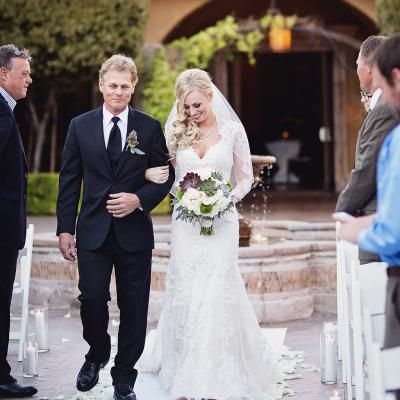 Father Walks His Gorgeous Daughter Wearing A Long Sleeve Sweetheart Necklice Lace Dress Down The Aisle