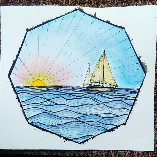 Sunrise on the open sea   So many assignments due and this is what I do   #paint #art #watercolor #sea #boat #sailing #sunrise #sky #yacht #instaart #instagood #travel #octagon #sail
