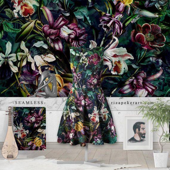 Secret Garden II  Seamless  STOCK LICENSED by rizapekerart on Etsy #fashion #botanical #art #fashion #print #pattern