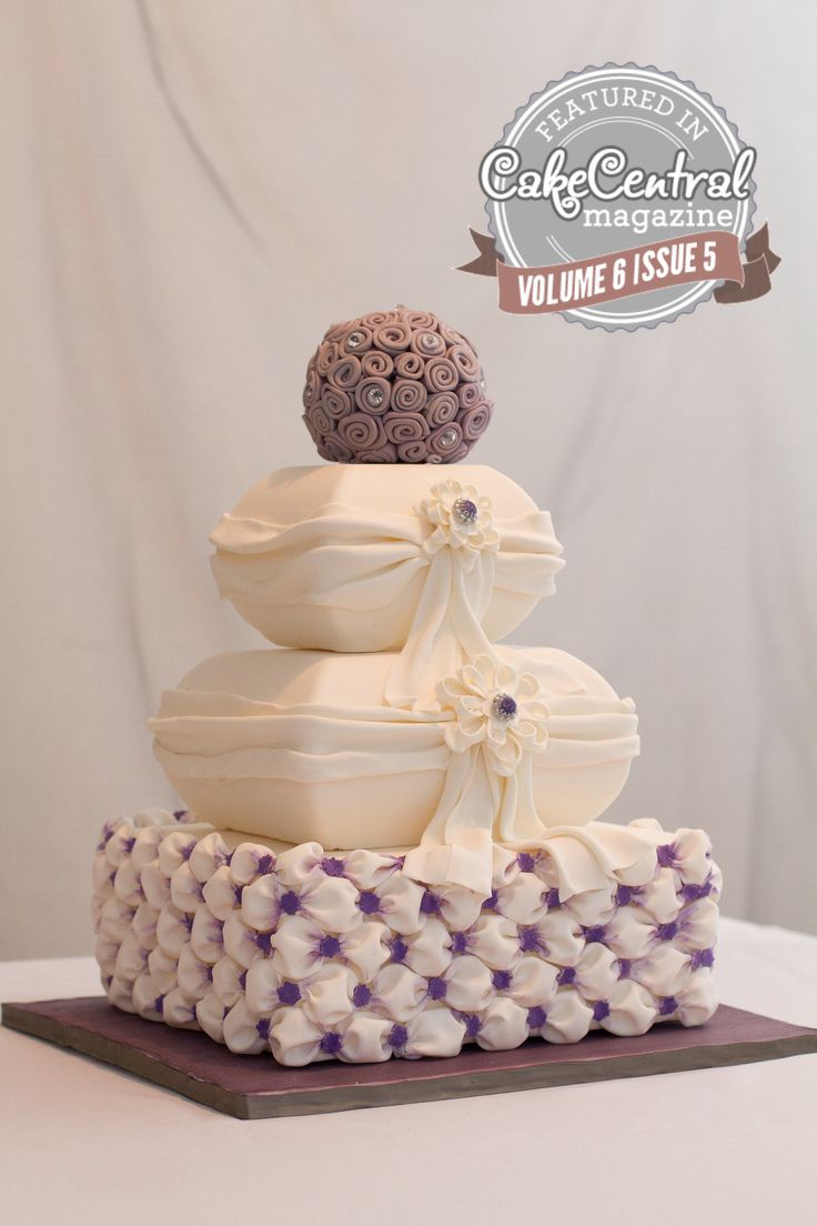 Purple Wedding Cake created by Gâteau Prestige featured in CakeCentral Magazine vol.6 issue 5  FB /GateauPrestige