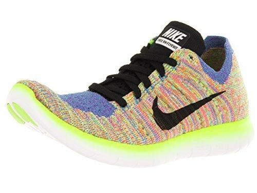 Nike Womens Shoes Free RN Flyknit Running Sneakers White Hyper Punch 831070 (8.5 M US White/Black/Blue/Hyper Punch)