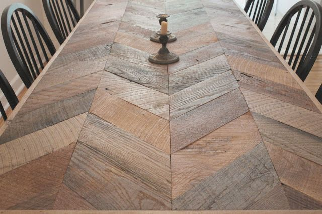 Herringbone Table Gardens And Outside Wooden Dining
