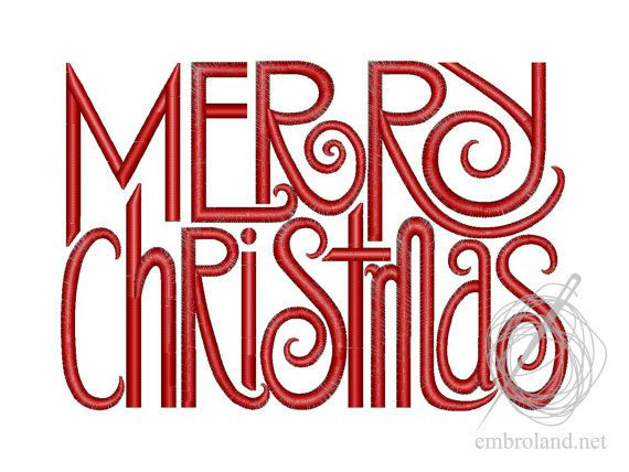 Merry Christmas - Machine Embroidery Design - Instant Download - Four sizes