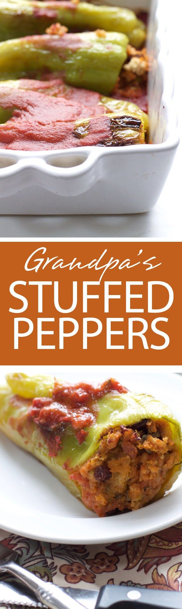 Grandpa's Stuffed Peppers | Grandpa's Stuffed Peppers are a delicacy. A cubanelle pepper stuffed with ciabatta bread, capers, raisins, cheese, and anchovies are sure to delight | forkknifeandlove.com