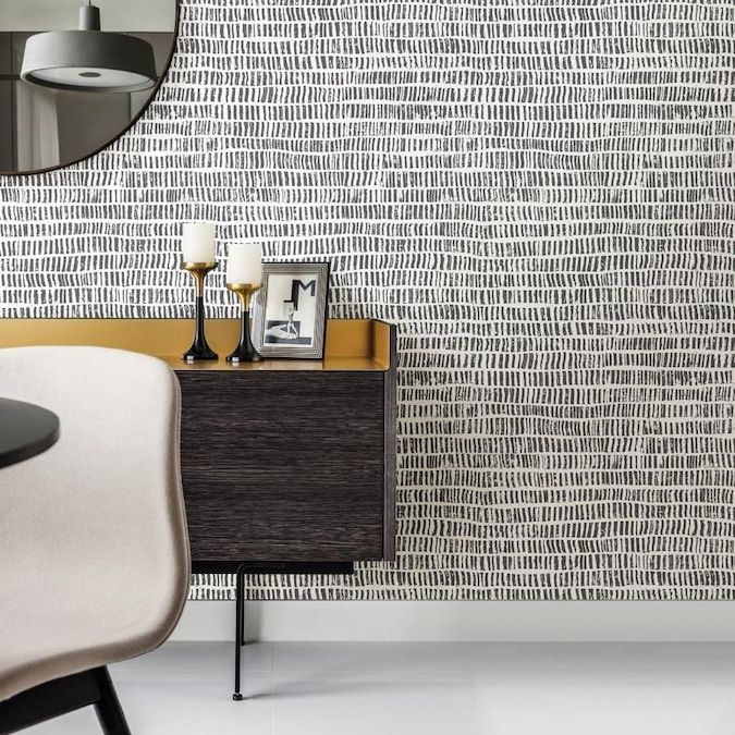 Scott Living 30 75 Sq Ft Charcoal Vinyl Abstract Self Adhesive Peel And Stick Wallpaper Lowes Com In 2020 Peel And Stick Wallpaper Dining Room Updates Lowes Wallpaper