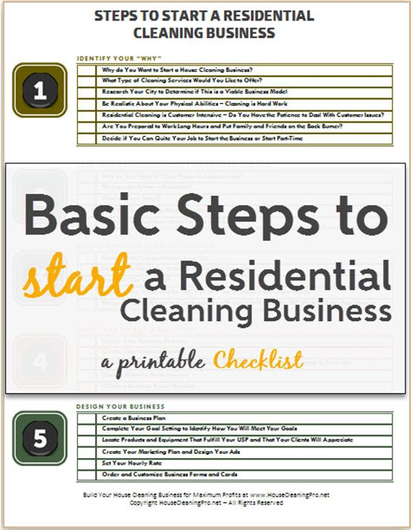 Use these basic steps to start a residential cleaning business - Free Printable Checklist