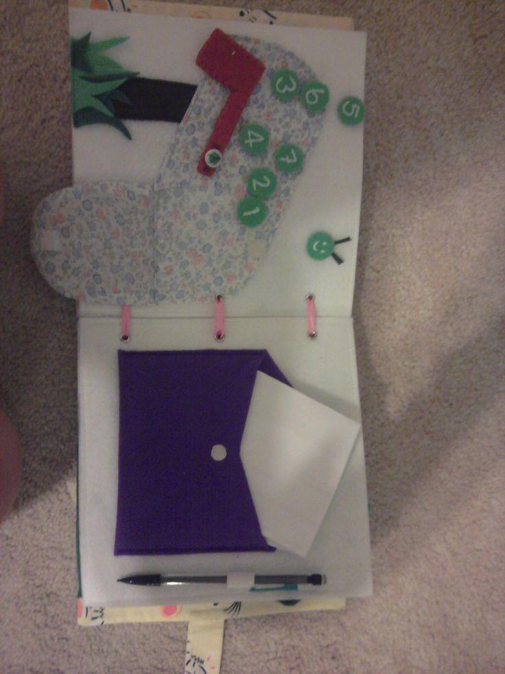 Quiet book 5 - mailbox and numbered caterpillar