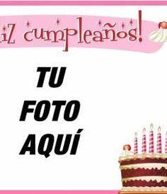 Crea una tarjeta para felicitar el #cumpleaños a tus amigos con esta postal que podrás personalizar con una foto y texto. #Tarjeta personalizada de cumpleaños con marco rosa y una tarta de chocolate y nata con cerezas y velas rosas. www.fotoefectos.com