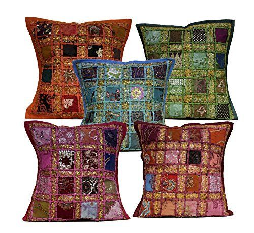 5 Multi Embroidery Sequin Patchwork Indian Sari Throw Pillow Cushion Covers Krishna Mart India http://www.amazon.com/dp/B011RNDD7U/ref=cm_sw_r_pi_dp_RCaywb1DV93NS