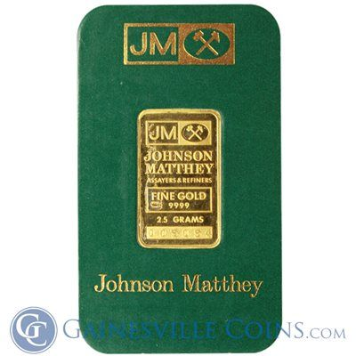 Johnson Matthey 2 5 Gram Gold Bar Sealed In Assay Card