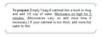 Oatmeal Packet Example Label