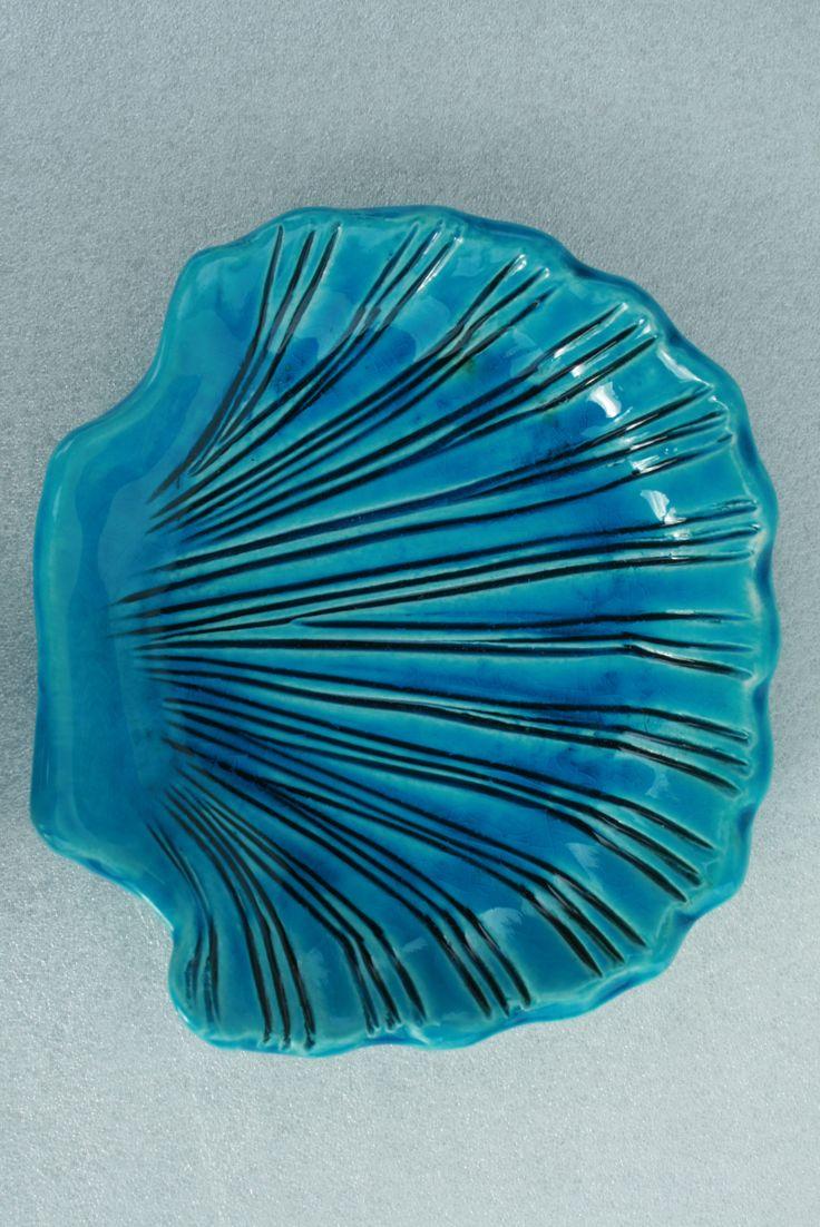 Ciotolina conchiglia di ceramica turchese | Turquoise ceramic shell bowl