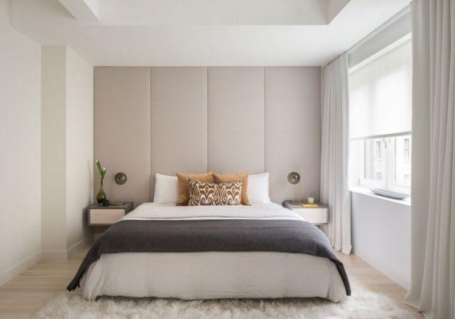 chambre-coucher-moderne-blanche-élégante-accents-gris-coussins-élégants chambre à coucher contemporaine