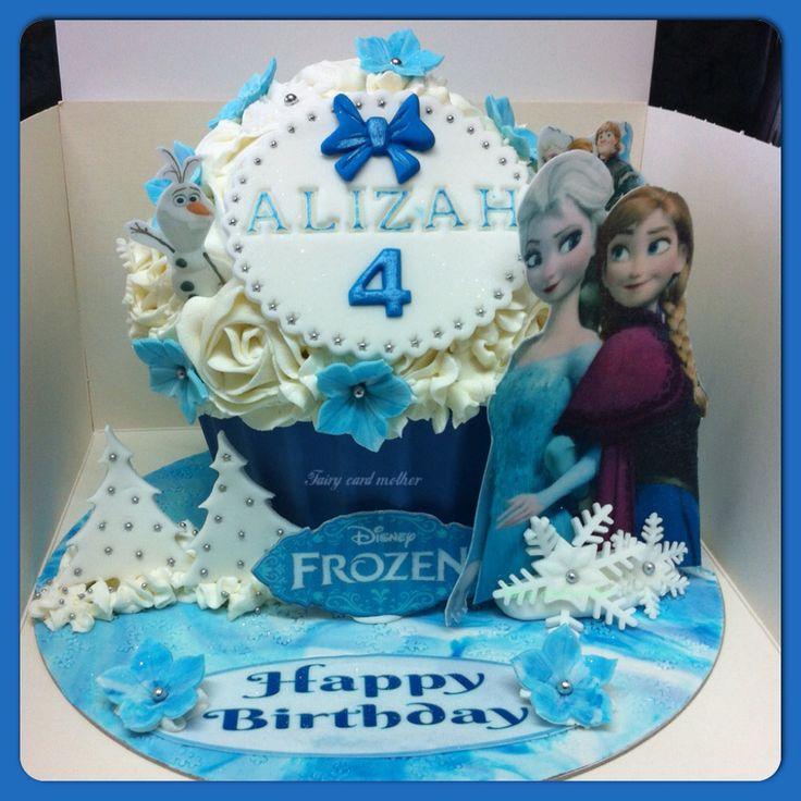 Frozen theme giant cupcake