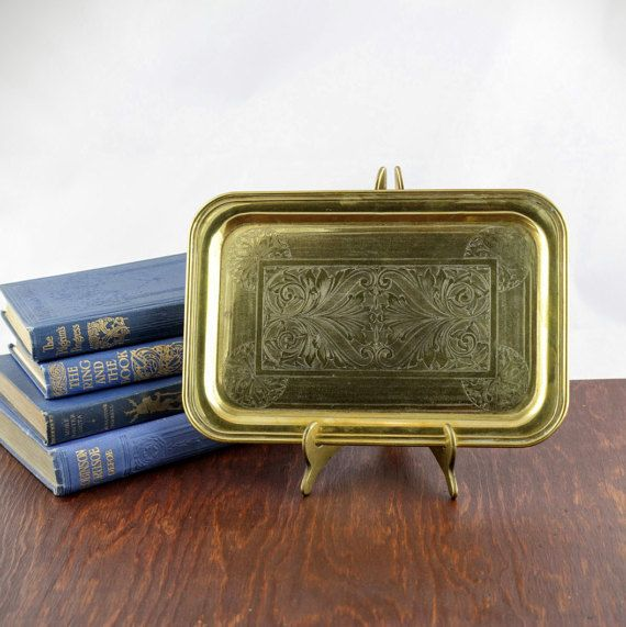 Vintage Etched Brass Tray  Ornate Embossed by LoAndCoVintage