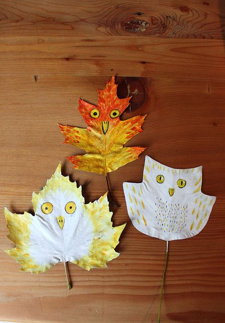 make them draw an animal that has a similar shape to the leaf, them make the kids make the noise of that animal, and then teach them about what type of leaf it is, this could be turned into a scavenger hunt eventually. Very fun and entertaining, have peace and quite out in nature with the kids.