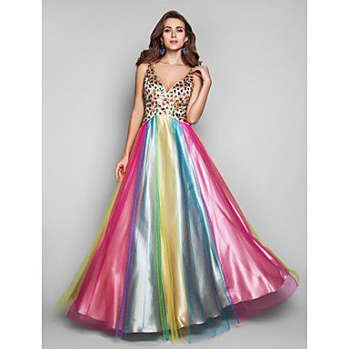 A-line/Princess V-neck Floor-length Multi-color Satin And Tulle Evening/Prom Dress – USD $ 229.99