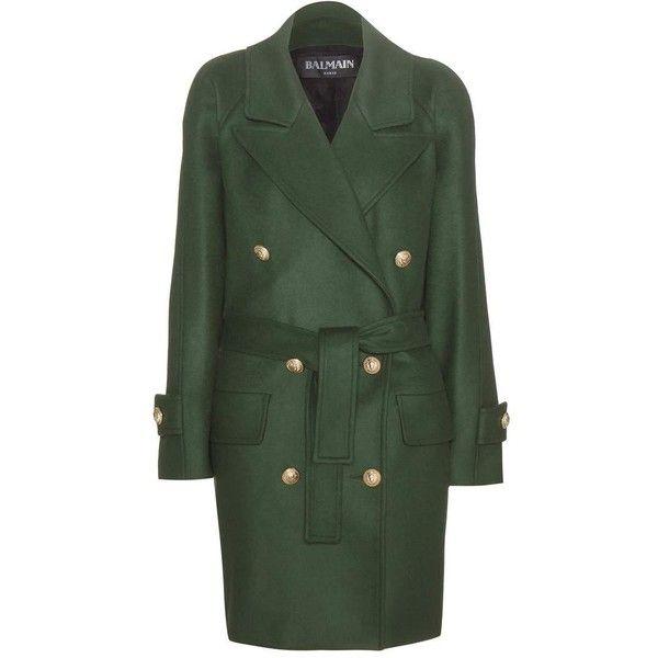 Balmain Wool Coat found on Polyvore featuring outerwear, coats, jackets, green, woolen coat, green coat, balmain, green wool coat and balmain coat