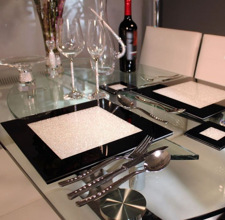 New Set of Four Black Glass Placemats With Swarovski