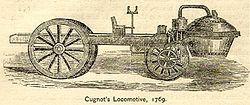 """EL PRIMER AUTOMÓVIL. NICOLÁS-JOSEPH CUGNOT. (1725-1804). El primer vehículo autopropulsado o automóvil se le atribuye a Nicolás-Joseph Cugnot, ingeniero militar e inventor. Realizó pruebas de modelos de vehículos impulsados por motores de vapor para el Ejército Francés, pensados para arrastrar cañones pesados, tarea que empezó en 1765. En 1769 consiguió que funcionase una versión de su Fardier à vapeur (""""Coche de vapor""""). Al año siguiente construyó una versión mejorada."""