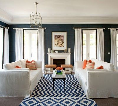 sofas close togetherWall Colors, Curtains, Living Rooms, Blue Wall, Livingroom, Dark Walls, White, Rugs, The Navy