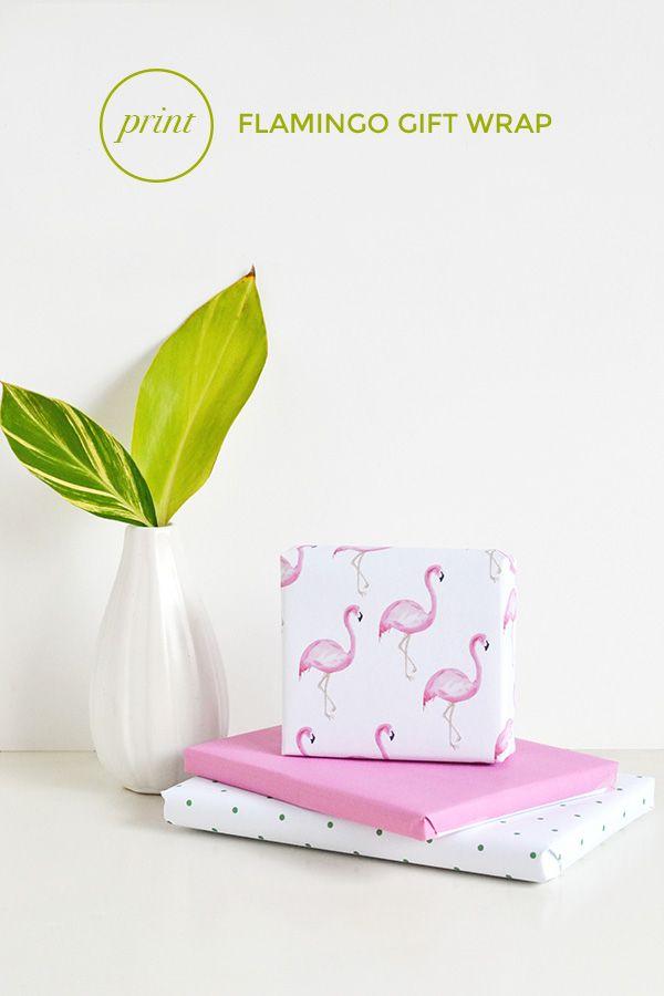 Make + give | Printable flamingo gift wrap – Make and Tell