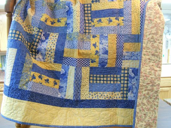 Lap Quilt Blue and Yellow Quilt Yellow and by MikeandMollyscrafts, $225.00