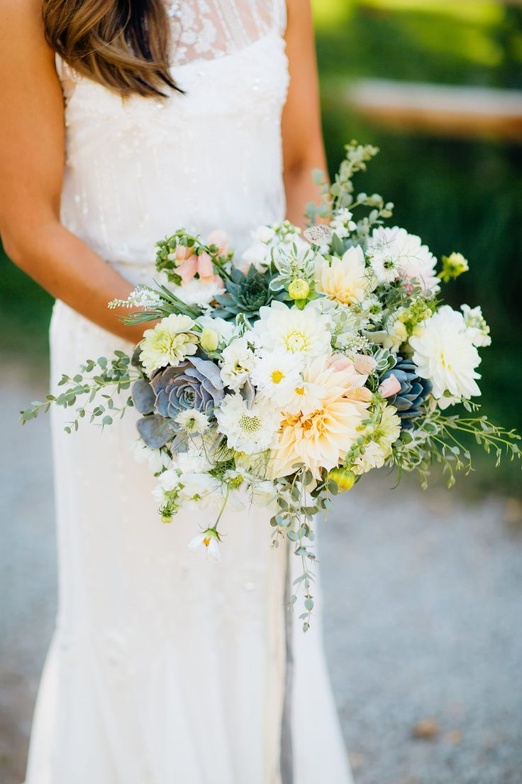 Succulent, dahlia, and cosmos bouquet by Farmette Flowers. Photo by Mallory Munson
