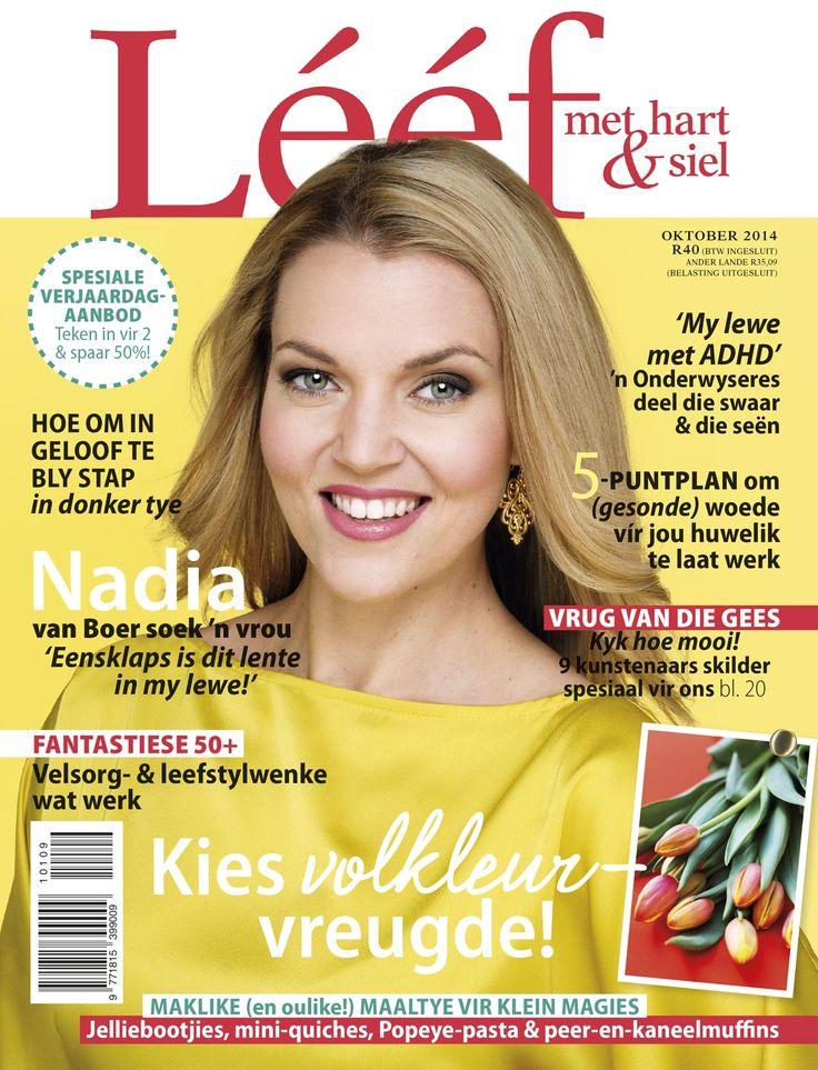 OKTOBER'14 LEEF Voorblad - Nadia Beukes - Fotograaf: Leana Clunies-Ross. Hare&Grimering: Kim Winterscale. www.leef.co.za