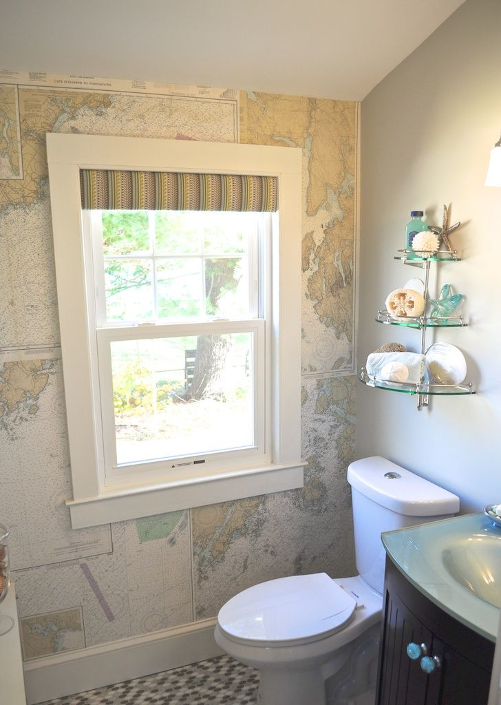A Coastal-Inspired Bath, With Nautical (DIYed!) Wallpaper