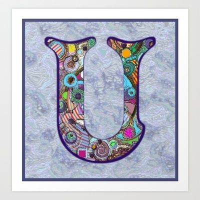 The Letter U Art Print by gretzky: Gretzky Direction, Abstract Monograms, Products Avail, Quality Art, Art Prints, Buy Letters, Alphabet, Artists Stores, Letters Art