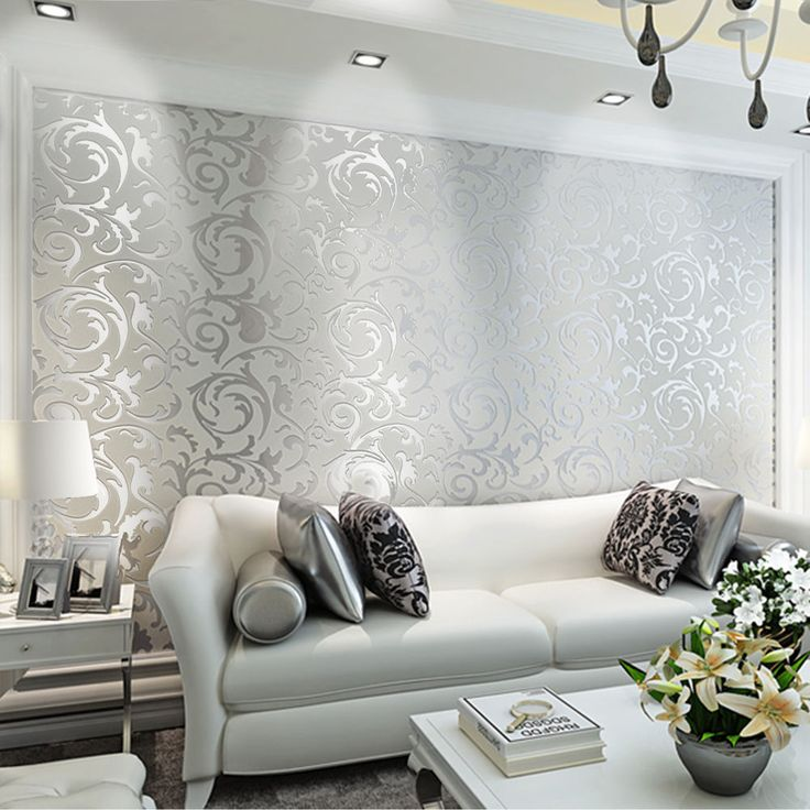 3D Victorian Damask Embossed Wallpaper Rolls Feature TV Background Decor  Silver