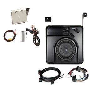 Sierra 3500 Double Cab Audio Upgrade, Kicker Amp and Sub Kit:Deliver thrill and musical accuracy of live-concert experiences, minus the crowds with an upgraded Audio System-Subwoofer. This system adds big-bass subwoofers in a small space, along with high-efficiency, low power-draw amplifiers.