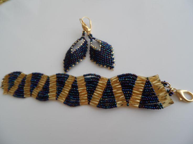 russian leaf earrings and wave bracelet