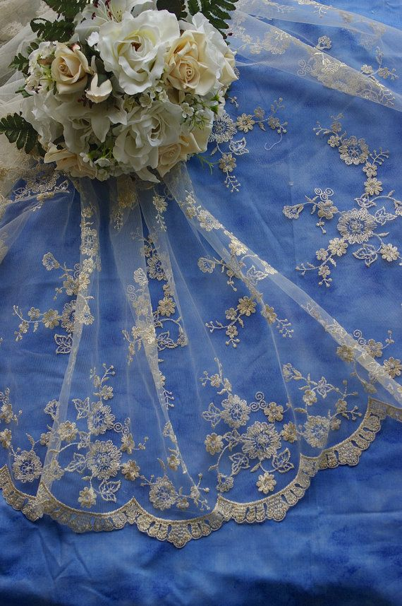 Bridal Lace Tulle Fabric-Off white with gold metallic threads