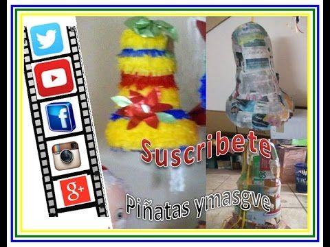 Como hacer una piñata de campana con tiraas de carton (utilize caja de cereal) - YouTube