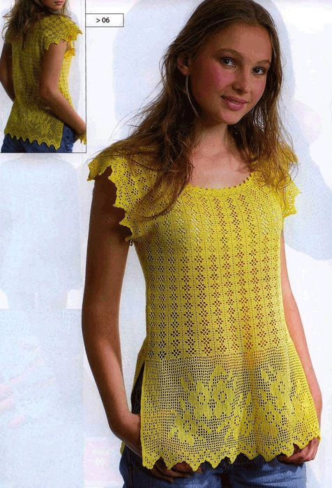Желтая блузка крючок