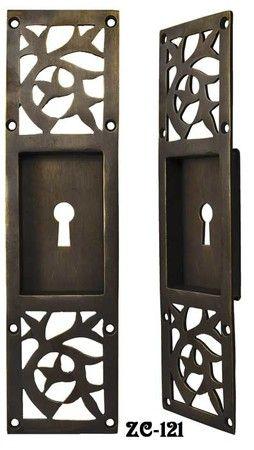 "Arts & Crafts Pocket Door Handle With Keyhole. Lost Wax cast solid brass, & darkened, Arts & Crafts pocket door handles originally Circa 1920. 7 5/8"" tall by 2"" wide."