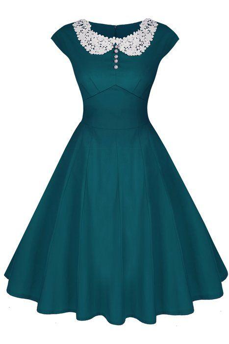ACEVOG Damen Sommerkleid Rockabilly Party Cocktailkleider mit Spitzen 1950er Retro Vintage Abendkleider Stretch Knielang Dunkelgrün Gr.40                                                                                                                                                                                 Mehr
