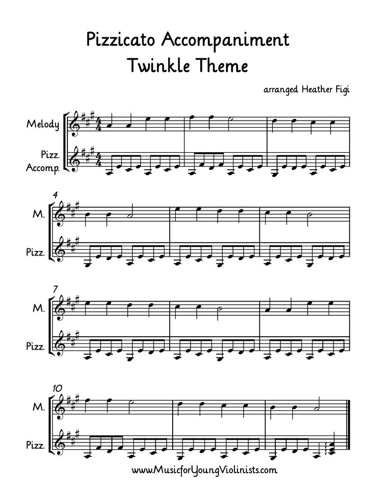 Free Violin Sheet Music: Another way to spice up your beginner violin students playing Twinkle Theme is to have your older students accompany them with this pizzicato part. For more free violin related resources and multi-level violin music please visit: www.MusicforYoungViolinists.com Thanks!