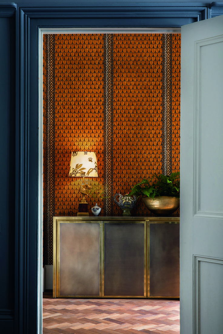 Cole planters prices - Narina Wallpaper From The Cole Son Ardmore Collection With Stylised Feathers Depicted As A Geometric Design In Burnt Orange