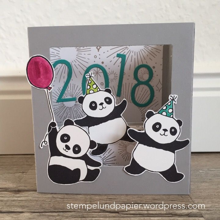 Shadow Box card by Claudia Ausborn for AddINKtive Designs using Stampin Up products #stampinup #shadowboxcard #partypandas #sab2018 #addinktivedesignsteam #happynewyear #diy #cardmaking #stempelundpapier #