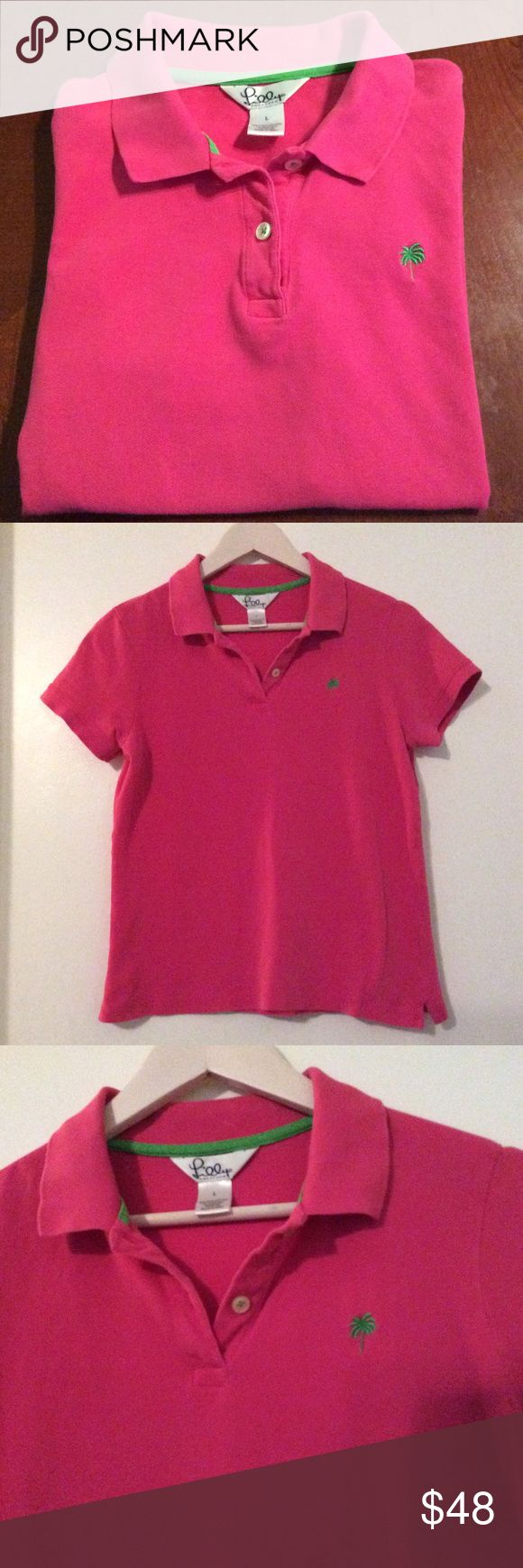 Lilly Pulitzer Hot Pink Polo Style Shirt Lilly Pulitzer hot pink polo style 2-button shirt. Perfect & cheerful for Spring & Summer. Lilly Pulitzer Tops