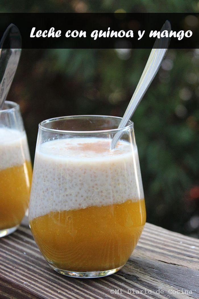 Delicioso y nutritiva receta de Leche con quinoa y mango, una opción diferente para el desayuno o postre.