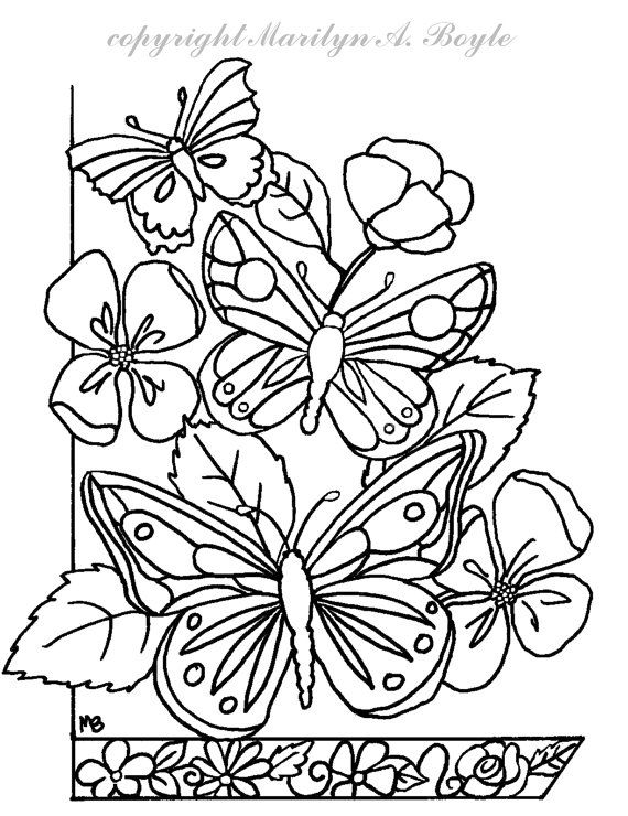 DIGITAL DOWNLOAD BUTTERFLIES Flowers Adult By OriginalSandMore Coloring PagesColoring BooksCard