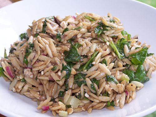 Copycat Whole Foods Orzo with Spinach and Feta Salad.  This is amazing!!!  I think it has a slightly different taste than what I've gotten from Whole Foods, but I LOVE it!  I added about 2 oz more of feta than it calls for...because I love feta!